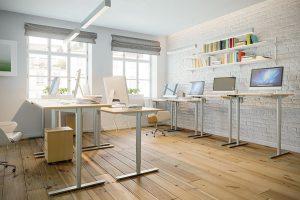 Der Schreibtisch Tessi ist höhenverstellbar